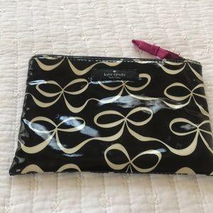 Kate Spade New York Black White Bow Cosmetic Bag